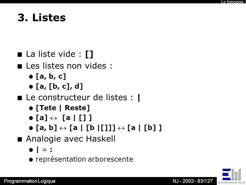 3. Listes La liste vide : [] Les listes non vides :